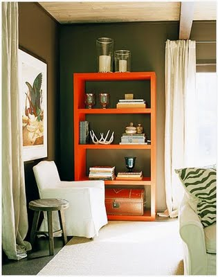 Loving This Pumpkin Orange Book Shelf And The Way It Adds A Pop To Neutral Room Now I Want Painted Bookshelf Call My Own